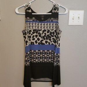 Leopard & Aztec print, black, gray, blue tank